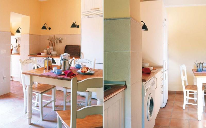 Conception de cuisine avec machine à laver de style campagnard