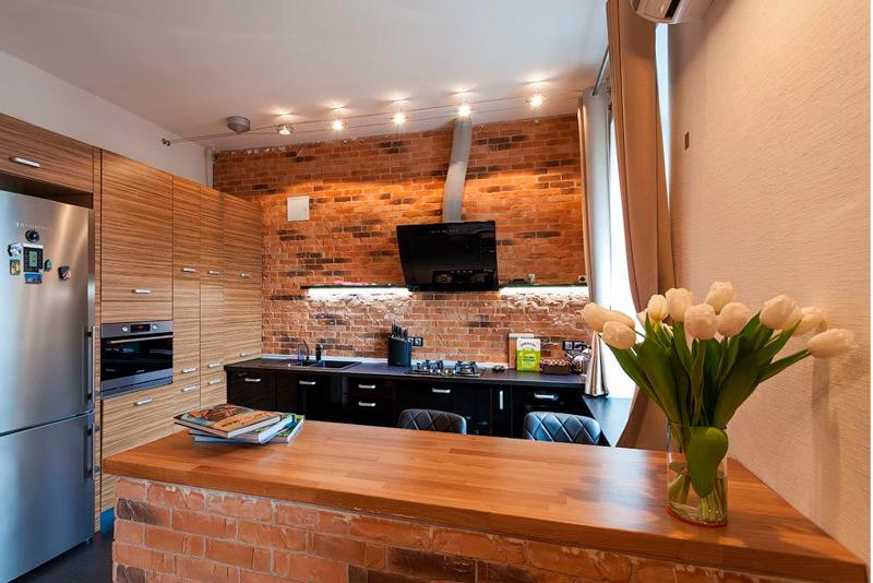 Brique dans la cuisine à Stalinka
