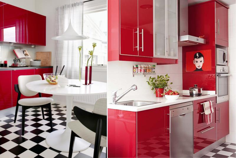 Punainen, musta ja valkoinen keittiö retro-tyylillä