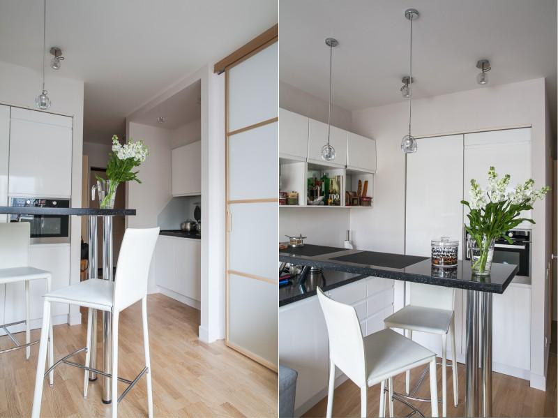 Studio lejlighed med en bar i køkkenet
