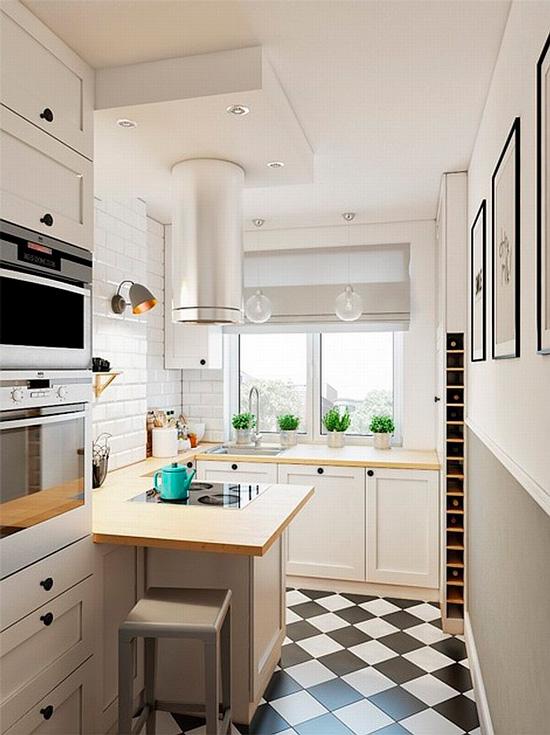 Moderni keittiö, jossa on musta ja valkoinen lattia