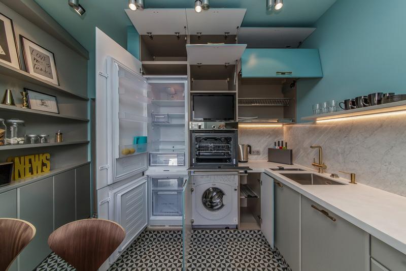 Sisäänrakennettu pesukone keittiössä