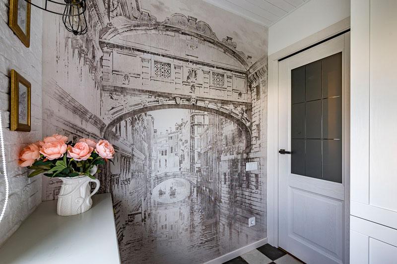 Photowall-paper dans un intérieur de petite cuisine classique