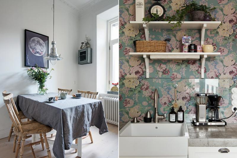 Tapeta s květinami v interiéru kuchyně