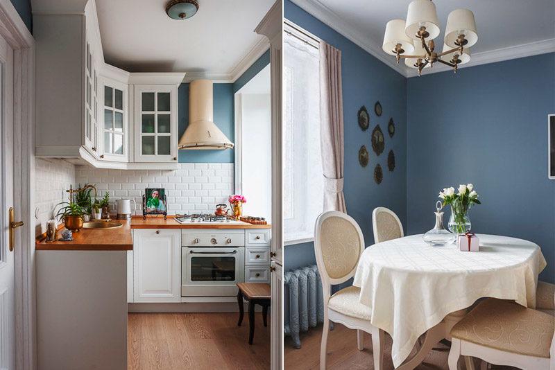 Murs bleus à l'intérieur d'une cuisine classique