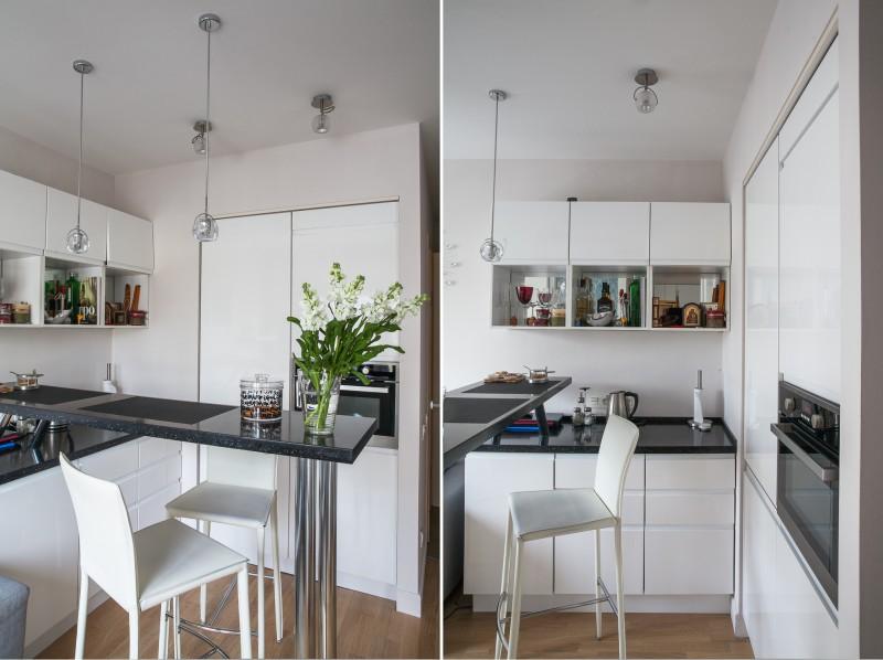 מטבח לבן בדירת סטודיו