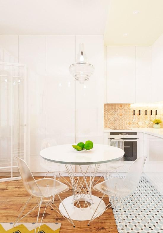 מטבח-סלון עם מחיצת זכוכית