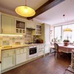 Kitchen with country-style beamed ceilings