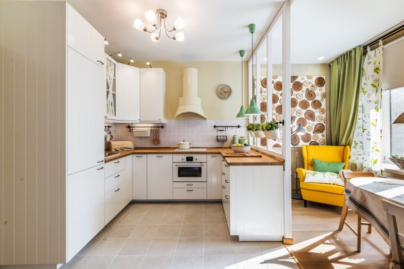 Country style kitchen with massive worktop