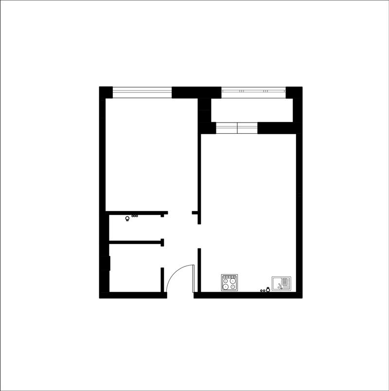 מטבח תוכנית סלון ללא חלון כדי redevelop