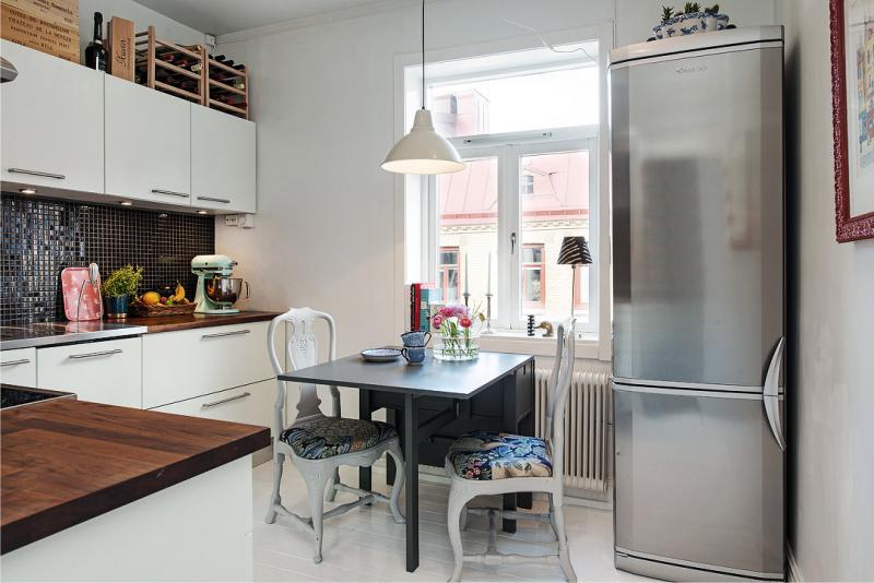 Buzdolabının kötü bir düzenlemesi ile mutfak