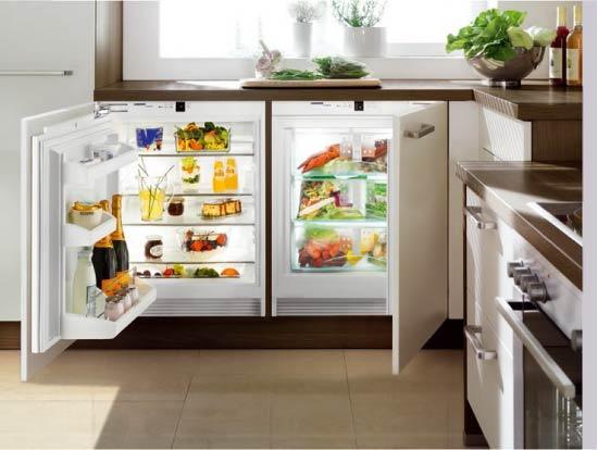 Tezgahın altına entegre edilmiş buzdolabı ve dondurucu