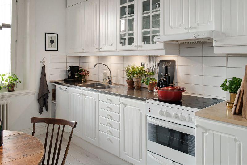Fehér egyenes konyha