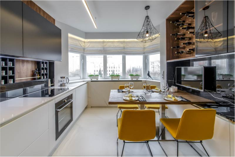 A 13 méteres konyha két soros elrendezése