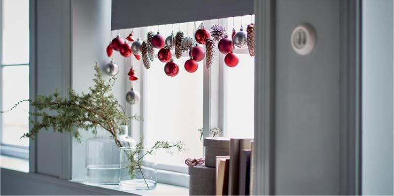 Újévi függöny dekoráció