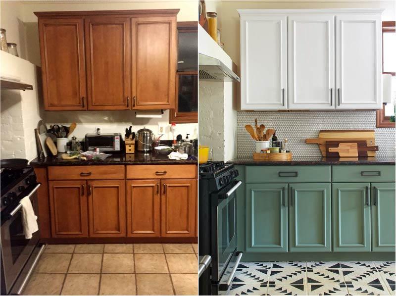 מטבח ישן לפני ואחרי צביעה