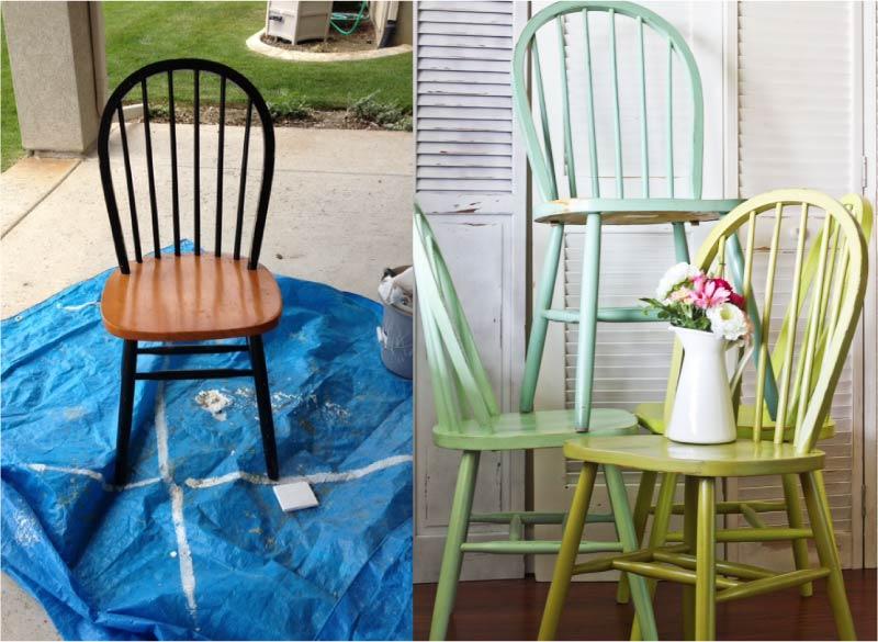 A festés előtti és utáni szék