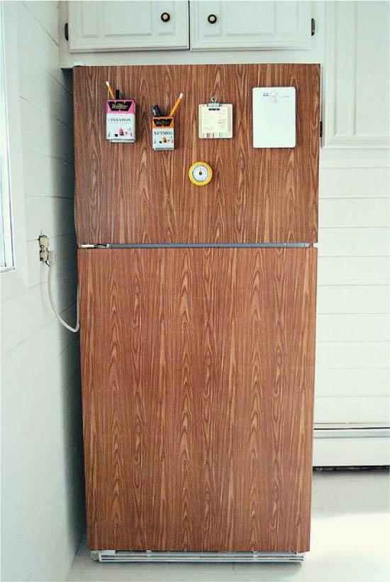 Køleskab, indsat over vinyl film