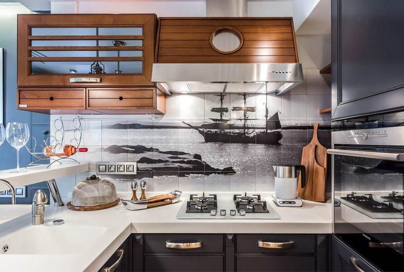 Dapur biru gelap dalam gaya laut