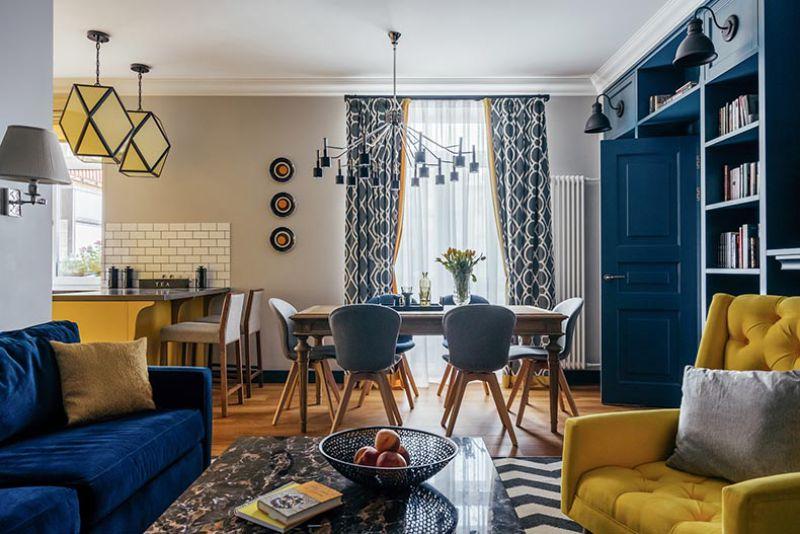 Konyha-nappali-étkező kék