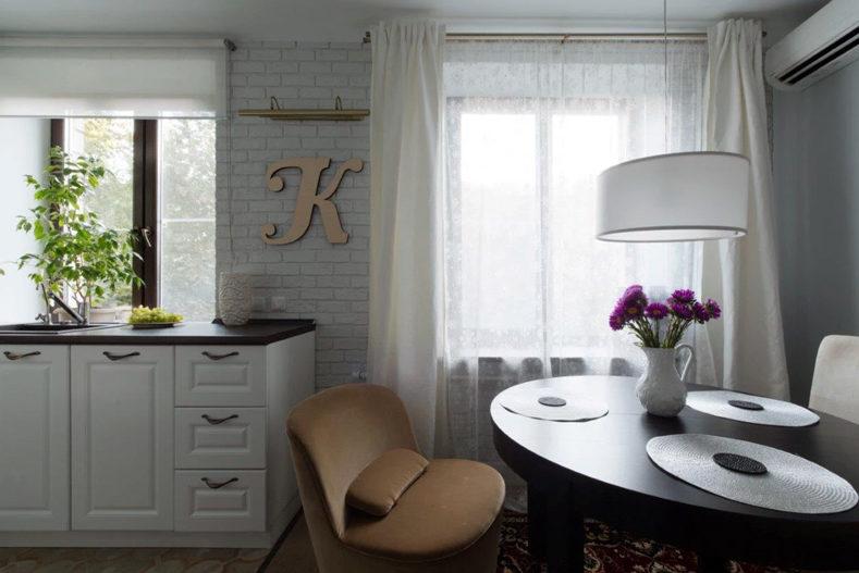 Konyha-étkező-nappali a felújított Hruscsovban
