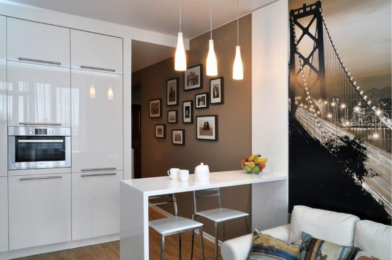 Foto papel de parede no interior de uma pequena cozinha