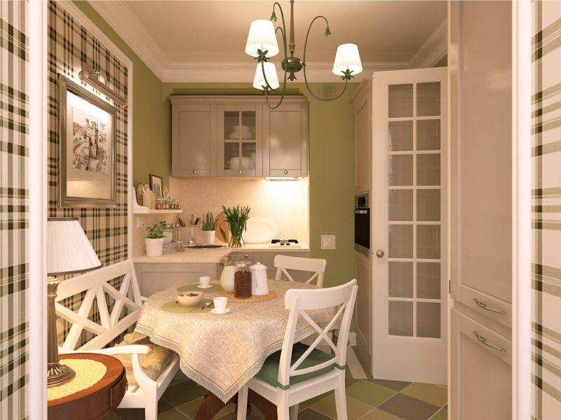 Pequena cozinha verde bege