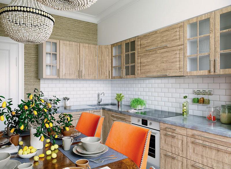 Papel de parede texturizado e cozinha de madeira