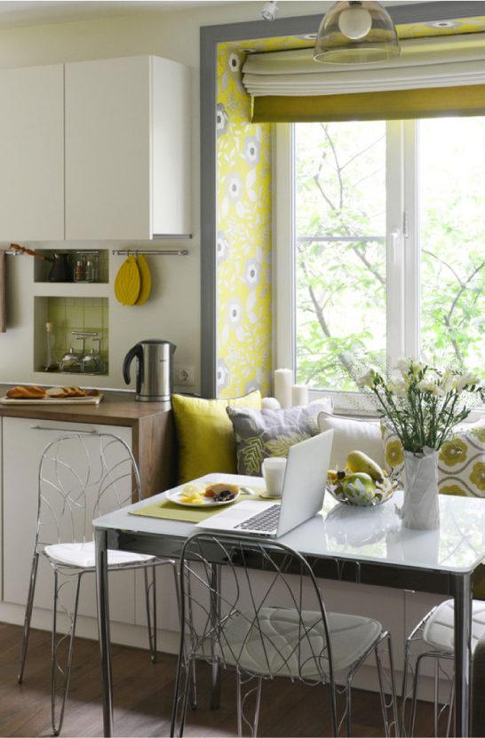 Cozinha amarela e branca