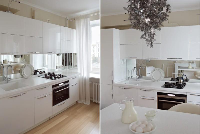 Бяла лъскава кухня в Хрушчов