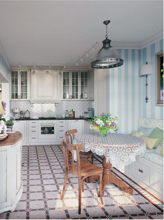 Virtuves dizains ar grīdas flīzēm