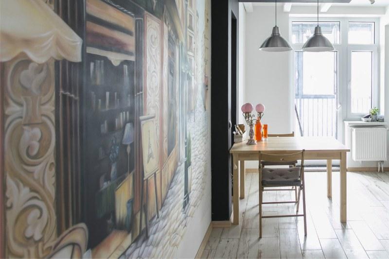 Скандинавска кухня с боядисана стена