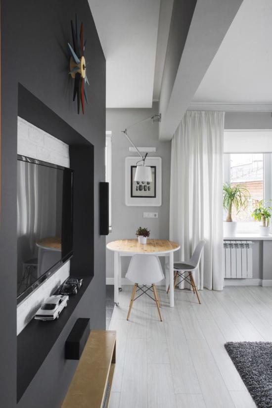 Modernā virtuve-dzīvojamā istaba Hruščovā