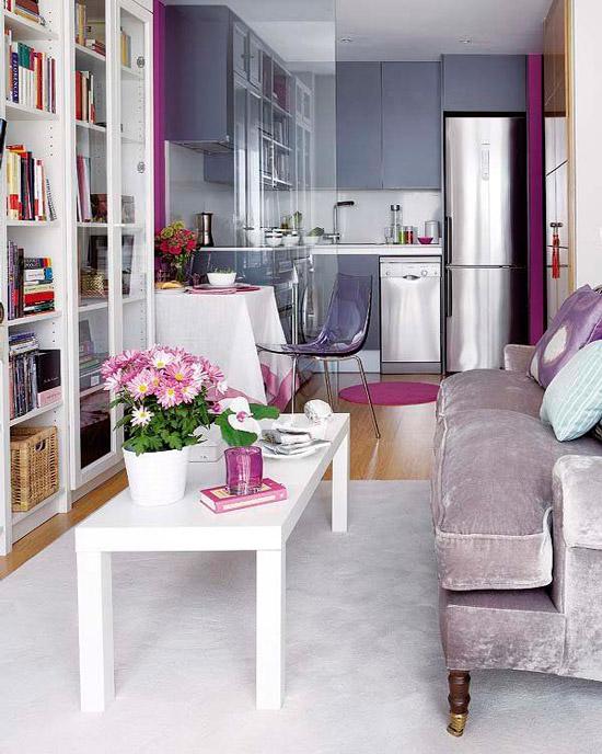 Pelēka virtuve-dzīvojamā istaba