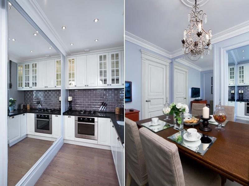 Spoguļi nelielas virtuves-ēdamistabas interjerā