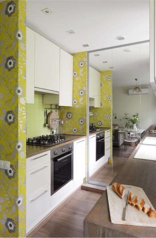 Жълта и бяла кухня