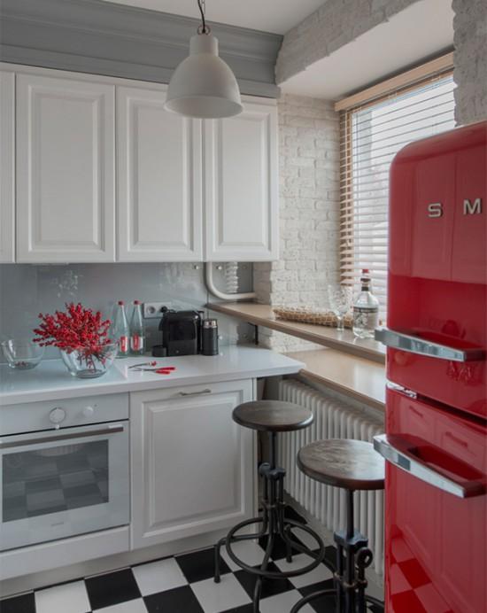 Nhà bếp có tủ trên không có tay cầm