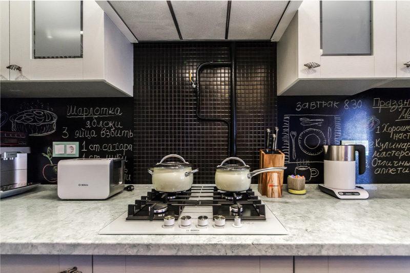Dapur putih dengan tablet sinter