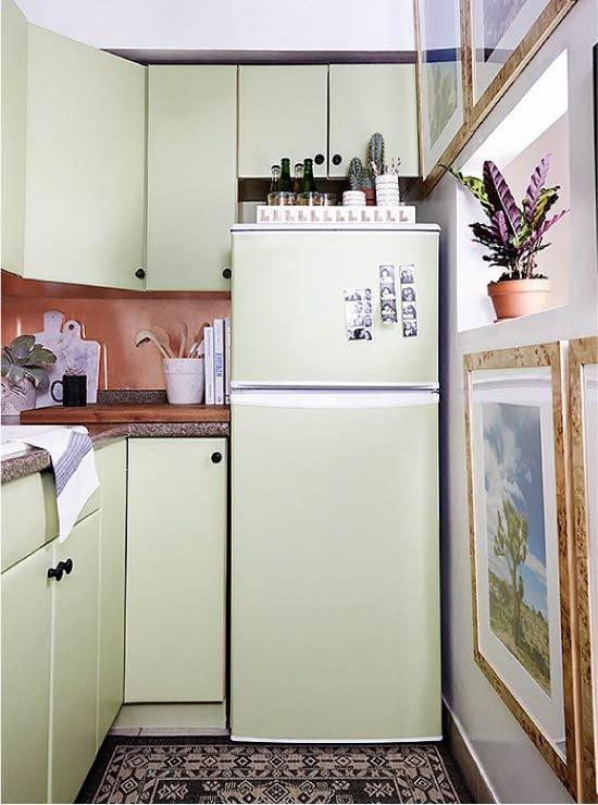 Izveidojiet nelielu virtuvi olīvu krāsās