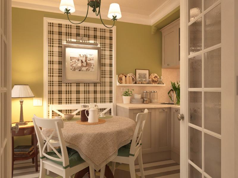 Neliela virtuve ar olīvu krāsām