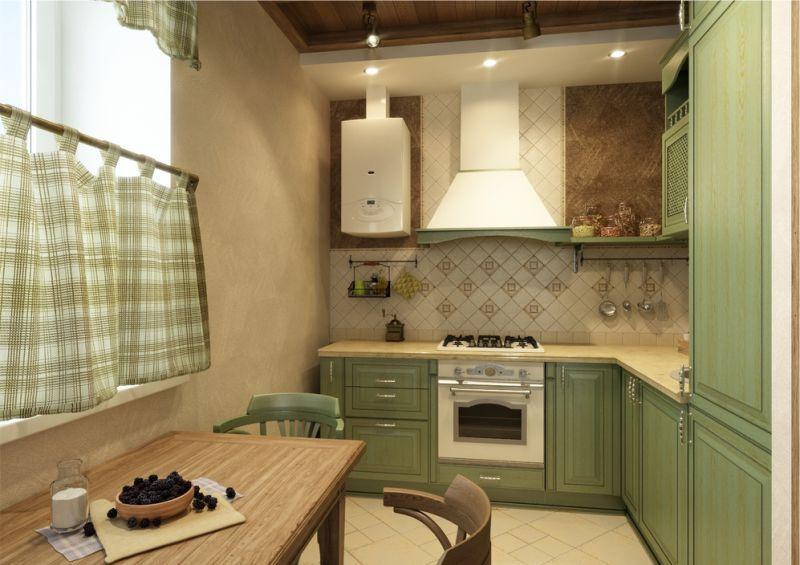 Olīvu lauku stila virtuve ar rūtainiem aizkariem