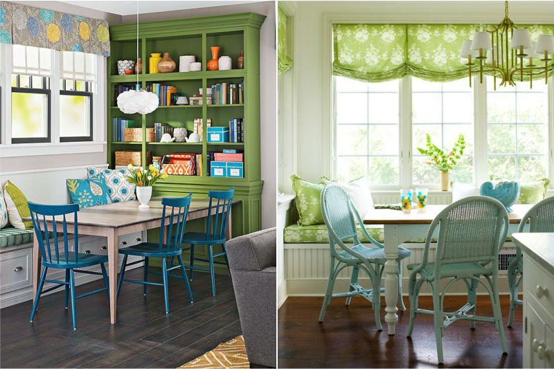 Zaļš un zils virtuves interjerā