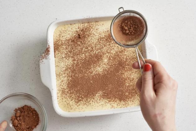 Tiramisu'da kakao tozu